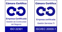 Logos Calidad ISO 22301/20001 Cámara
